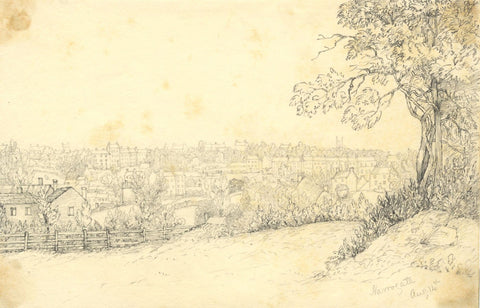 View over Harrogate, N. Yorkshire  - Original mid-19th-century graphite drawing