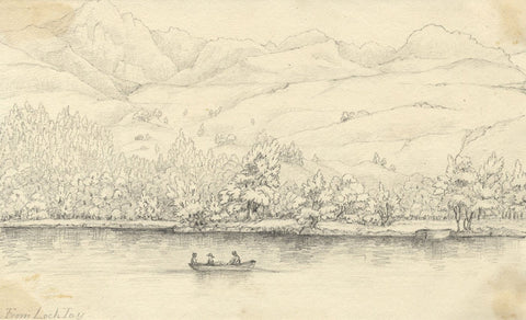Boating on Loch Tay, Scotland - Original mid-19th-century graphite drawing