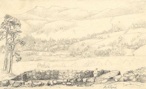 Figure in an Auchlyne Landscape - Original mid-19th-century graphite drawing