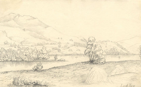 Mountains at Loch Tay, Scotland - Original mid-19th-century graphite drawing