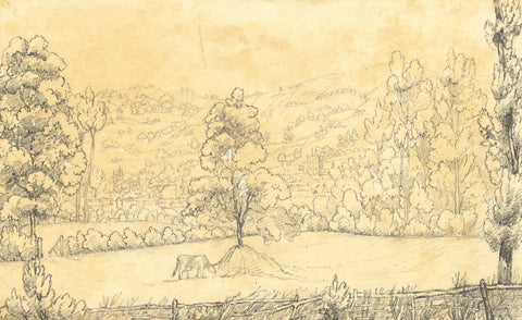 View from Abervagenny Station, Wales -Original mid-19th-century graphite drawing