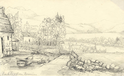 Cottages near Loch Tay, Scotland - Original mid-19th-century graphite drawing
