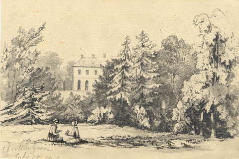 Manor Gardens Ladies Reading, Charlton Grove - Mid-19th-century graphite drawing