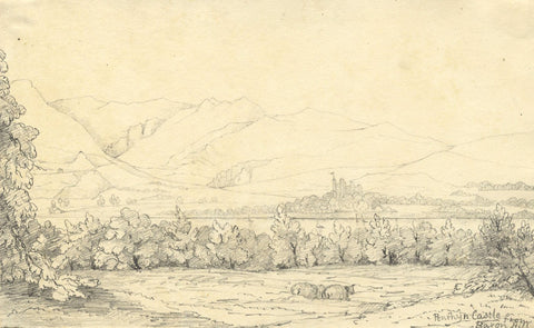Penrhyn Castle from Baron Hill, Wales-Original mid-19th-century graphite drawing
