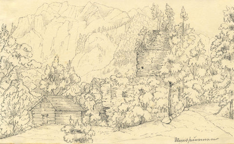 Unspunnen Castle Ruin, Interlaken - Original mid-19th-century graphite drawing