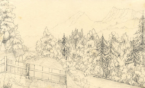 Weißenberg Mountain Path, Germany - Original mid-19th-century graphite drawing