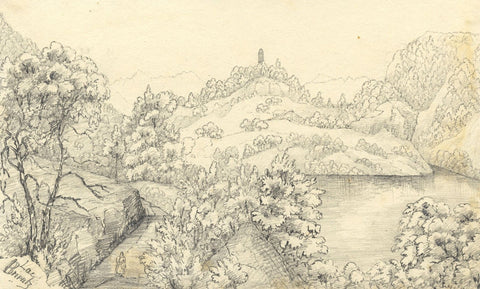 Lac de Brientz, Interlaken, Switzerland - Mid-19th-century graphite drawing
