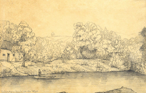 Cafan Twm Bach on the Wye River, Wales - Mid-19th-century graphite drawing