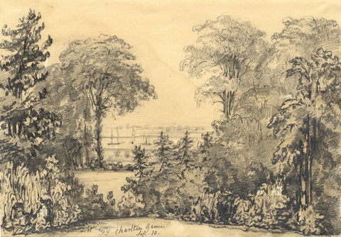 G.G., Boats on the Estuary, Charlton Grove - Mid-19th-century graphite drawing