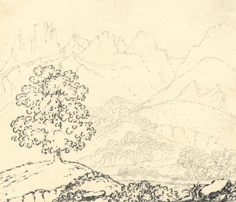 Road View from Bulle to Gruyère, Switzerland - Mid-19th-century graphite drawing