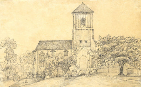 Country Church with Half-Timbered Tower - Mid-19th-century graphite drawing