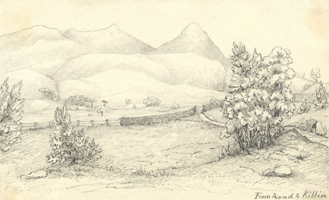 View from the Road to Killin, Scotland - Mid-19th-century graphite drawing