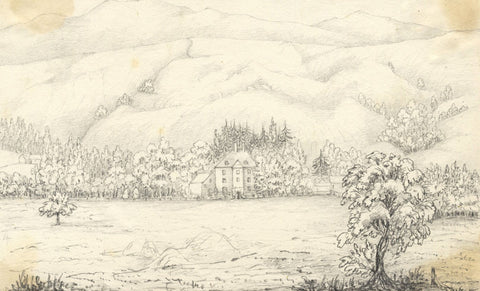 Manor House at Auchlyne, Scotland - Original mid-19th-century graphite drawing