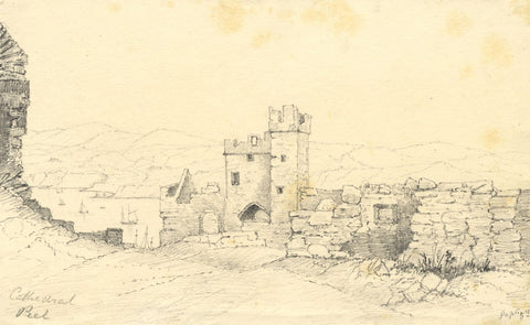Peel Cathedral Ruins, Isle of Man - Original mid-19th-century graphite drawing