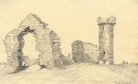 Peel Castle Ruins, Isle of Man - Original mid-19th-century graphite drawing