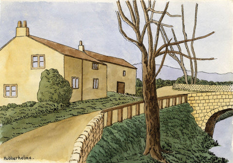 H. Ratcliffe, Houses at Hubberholme - Early 20th-century pen & ink drawing