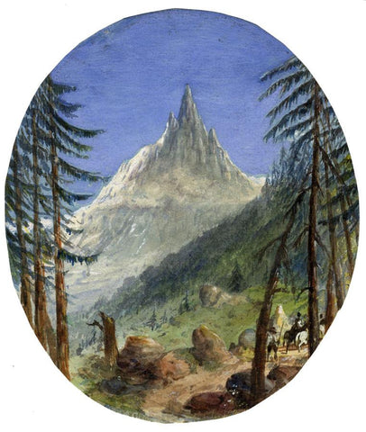 Ellis, Aiguille du Dru, French Alps - Mid-19th-century watercolour painting