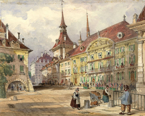 Ellis, Town Square, Lucerne - Original mid-19th-century watercolour painting
