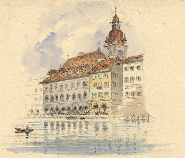 Ellis, Lucerne Town Hall - Original mid-19th-century watercolour painting