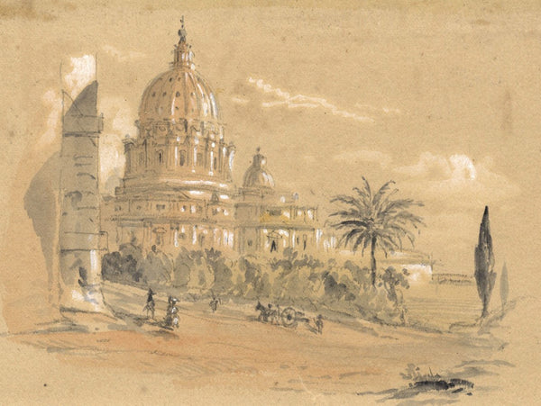 Ellis, St Peter's, Rome - Original mid-19th-century watercolour painting