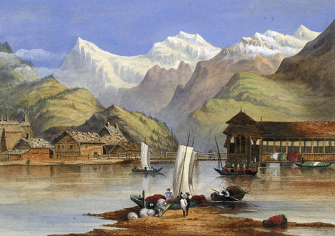 Ellis, Chapel Bridge, Lucerne - Original 1873 watercolour painting