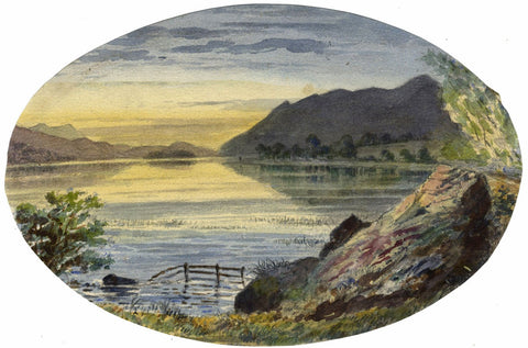 Ellis, Lake View, Swiss Alps - Original mid-19th-century watercolour painting