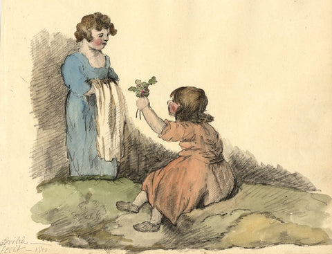 Cecilia Jenkins, Child Offering Flower Bouquet - 1810 watercolour painting