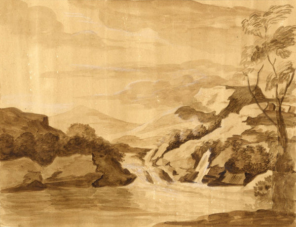 Anna Knowles, Sepia Waterfall - Original early 19th-century watercolour painting