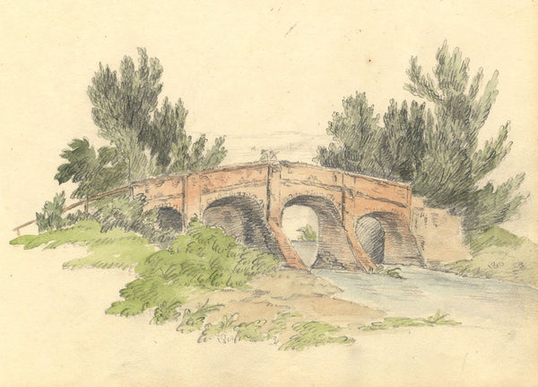 Anna Knowles, Figures on a Stone Arched Bridge - Original 1810 graphite drawing