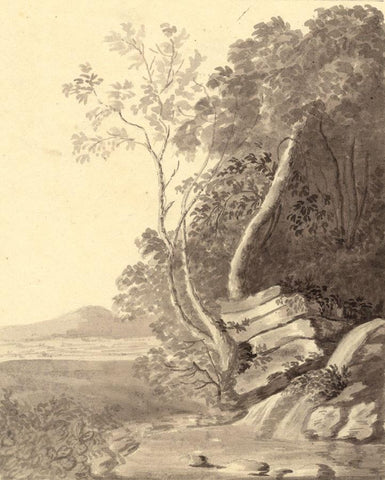 Anna Knowles, Grisaille Rocky Landscape -Early 19th-century watercolour painting