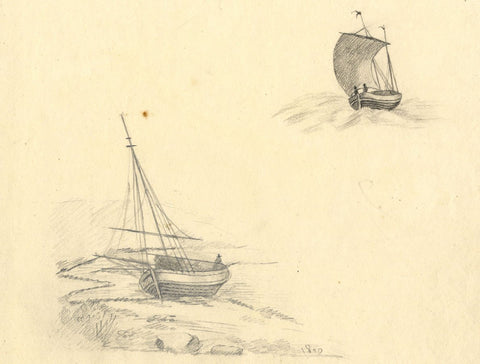 Anna Knowles, Sailboat Studies - Original 1810 graphite drawing