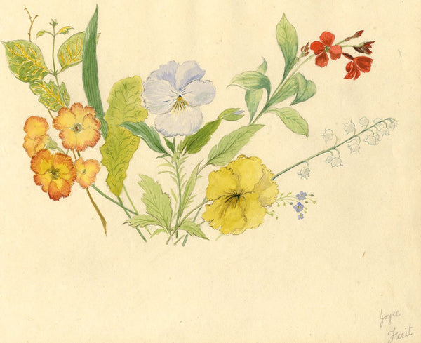 Joyce, Floral Posy Flowers - Original 1807 watercolour painting