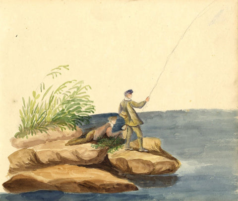 Anna Knowles, Two Boys Fishing -Original early 19th-century watercolour painting
