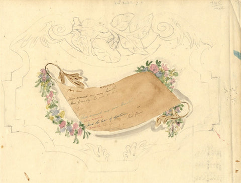 Anna Knowles, Poetry Scroll with Flowers - Original 1807 watercolour painting