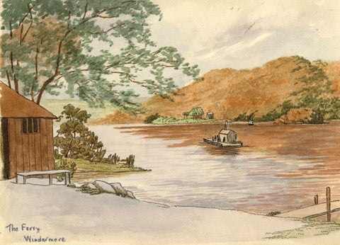 H. Ratcliffe, The Ferry at Windermere - Early 20th-century pen & ink drawing