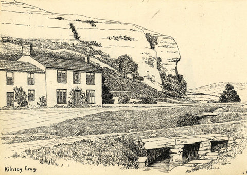 H. Ratcliffe, Kilnsey Crag Village-Original early 20th-century pen & ink drawing