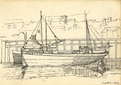 H. Ratcliffe, Sailboat at Scarborough - Original 1937 pen & ink drawing