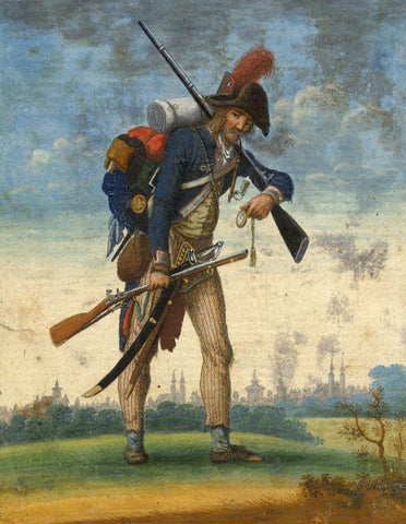 Napoleonic Soldier, Nuremberg -Early 19th-century watercolour painting & etching