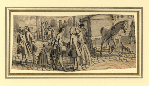 Street Scene with Horse & Carriage -18th-century grisaille watercolour painting
