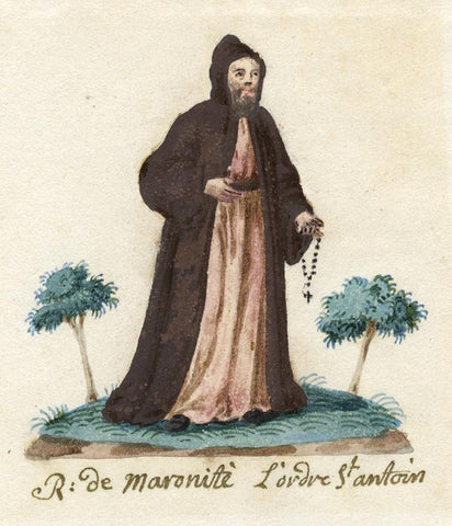 Monk of the Antonin Maronite Order - Early 19th-century watercolour painting