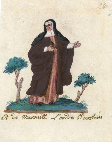 Nun of the Antonin Maronite Order - Early 19th-century watercolour painting