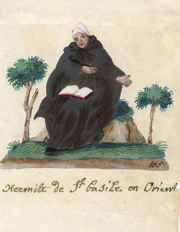 Hermit of St Basil of the Orient - Early 19th-century watercolour painting