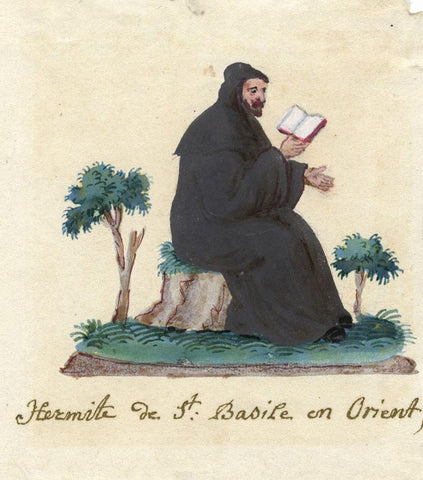 St Basil of the Orient Hermit - Early 19th-century watercolour painting