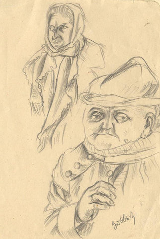 Karl Hubbuch, Figures on the Street - Original German 1920s graphite drawing