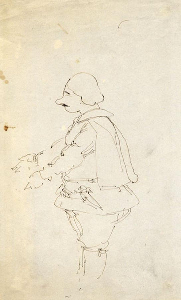 Caricature Study Man in Doublet & Breeches -Early 19th-century pen & ink drawing