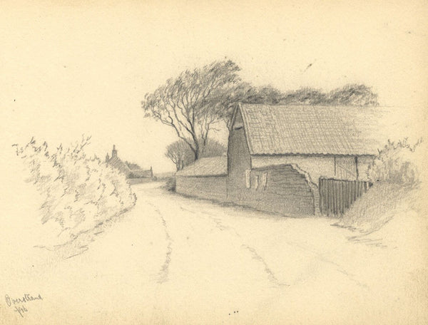 Barn and Country Road at Overstrand, Norfolk - Original 1896 graphite drawing