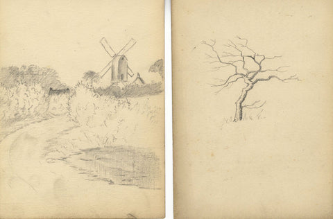 Animal and Landscape Studies - Four original late 19th-century graphite drawings