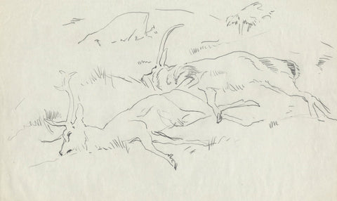 John Murray Thomson RSA, Dead Stags - Original mid-20th-century graphite drawing