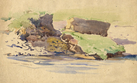 John Murray Thomson RSA, Rocks by River, Scotland - Mid-20th-century watercolour
