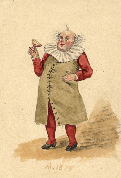 Albert Harcourt, Comical Drunkard - Original late 19th-century watercolour